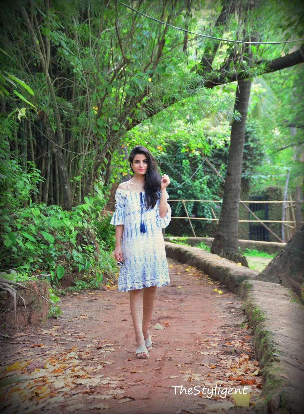 Boho Vacay white and blue dress from Shein